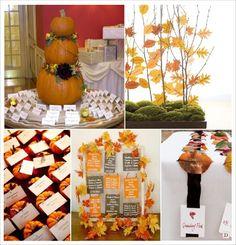 plan de table mariage automne citrouille arbre feuilles sur ruban