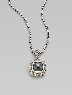 David Yurman: Diamond Accented Hematite Pendant Necklace. From the Petite Albion Collection. A sleek design with dazzling pavé diamonds surrounding a hematite stone set in sterling silver on a box link chain. CAD $620.74