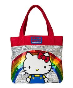 Another great find on #zulily! Hello Kitty Gray Rainbow Sequins Tote #zulilyfinds