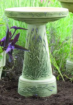Lavender Birdbath handcrafted in Roseville, OH by Burley Clay Products