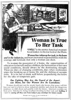 """World War I Poster: """"Woman is True to her Task"""" (click thru for analysis)"""