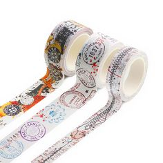 AALL & Create 3 x Washi Tapes - Fasteners, Passport Stamps & Twine