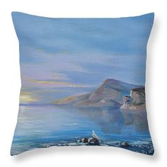 Awaiting For New Day Throw Pillow for Sale by Elena Antakova Art Prints For Home, Home Art, Original Paintings For Sale, Before Sunrise, Blue Hour, Cushion Pillow, Pillow Sale, Three Kids, Painting Art
