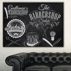 Designart 'Set Barbershop' Digital Art Canvas Art Print Más