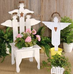 Rustic Garden Angel Planter Chair Phone to Order-Rustic Garden Angel Planter ...  oldcountrycrows.com