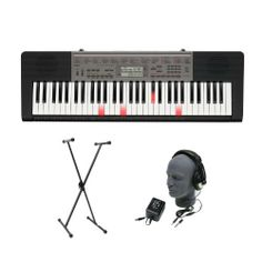 Casio LK-240 61-Key Portable Premium Portable Keyboard Package with Headphones, Stand and Power Supply by Casio. $120.43. LK-240 Features             61 Light Up Keys       48-note polyphony AHL sound source       400 Tones, 150 Rhythms       Step Up lesson system       Single X Style Stand       Nady HP03 Closed back Headphones       AD5 Power Supply      Can be powered by batteries or with the included AC adapter