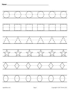 Free printable shapes worksheets for toddlers and preschoolers. Preschool shapes activities such as find and color, tracing shapes and shapes coloring pages. Shapes Worksheet Kindergarten, Alphabet Tracing Worksheets, Printable Preschool Worksheets, Shapes Worksheets, Handwriting Worksheets, Worksheets For Kids, In Kindergarten, Tracing Letters, Printable Shapes