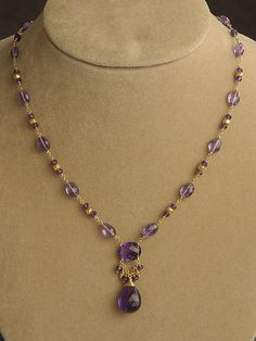 Amethyst Necklace on 18kt Gold| February Birthstone Jewelry