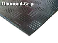 Diamond-Grip (Diamond Steel Deck Pattern) Rubber Mats and Runners.  It is ideal flooring for trailers, public transits, and industrial needs.  Comes in black or grey.