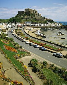 Mount Orgueil Castle And Gorey Harbour Jersey Channel Islands 1980s ©David Davies