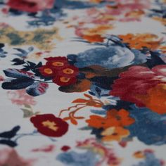 Cotton Drill Hazy Floral Print Dress Fabric Material (Ivory Ground) in Crafts, Fabric | eBay