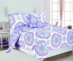Amazon.com: Design Studio Vivian Cotton Quilt Set, Full/Queen, Purple: Bedding & Bath