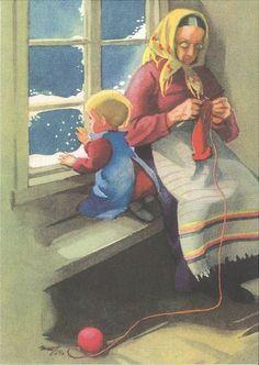 Martta Wendelin Winter Illustration, Illustration Art, Vintage Cards, Vintage Postcards, Knitting Club, Work Pictures, Scandinavian Art, Sewing Art, Christian Art