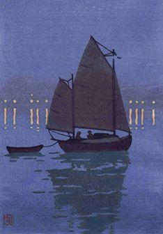 Canoe Yawl Night, Ray Heus, woodblock