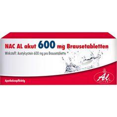 NAC AL akut 600 mg Brausetabletten:   Packungsinhalt: 10 St Brausetabletten PZN: 00724784 Hersteller: ALIUD Pharma GmbH Preis: 2,28 EUR…