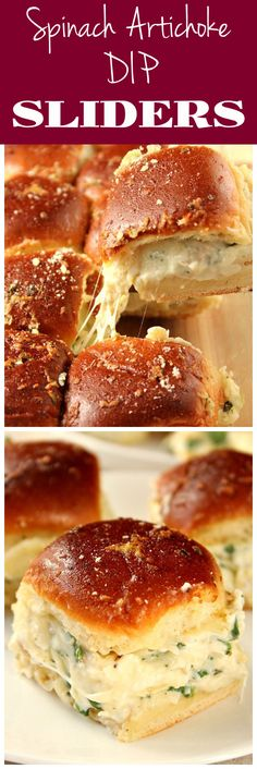 Cheesy Spinach Artichoke Dip Sliders recipe - baked garlic butter slider buns with spinach artichoke dip and cheese. Taking dip to a new level for one amazing party appetizer!