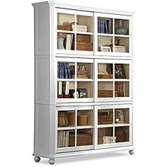 Bookcases with glass doors are awesome because you can see your books and knick knacks but they won't get dusty.