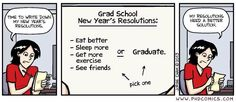 PHD Comics: Grad School New Year Resolutions. funny, but sadly true New Years Resolution Funny, Funny New Year, Lab Humor, Nerd Humor, Student Memes, Phd Student, Student Portal, Phd Comics, The Book Of You