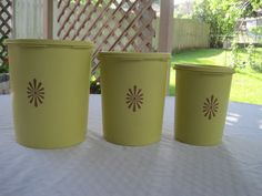Your place to buy and sell all things handmade Tupperware Canisters, Small One, Harvest, Planter Pots, Yellow, Etsy, Design