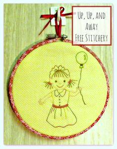 free stitchery pattern up up and away