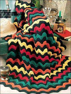 Bright Waves Crochet Afghan Pattern free crochet pattern