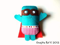 Blue superhero plush - Croquette Man, the fried rescuer