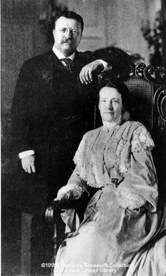 First Lady Edith Roosevelt in 1908 with President Theodore Roosevelt.