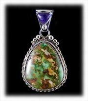 Green Royston Turquoise Pendant with Sugilite produced by Durango Silver Company. We have a great selection of Royston Turquoise Cabochons as well as finished Royston Turquoise Jewelry.