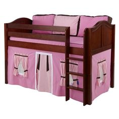 The Penelope Low Loft Bed with Hot Pink Tent is a fun and functional loft for your child!
