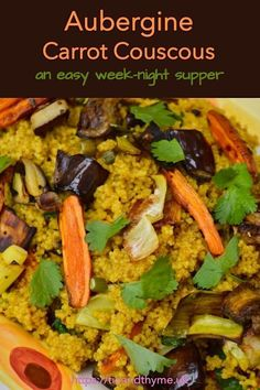 Roasted aubergine & carrot couscous makes for an easy week-night supper. It also works as a substantial side dish for any number of mains. Recipe is from the cookbook Bazaar by Sabrina Ghayour. Vegan Dinner Recipes, Entree Recipes, Vegan Dinners, Dairy Free Recipes, Side Dish Recipes, Pasta Recipes, Real Food Recipes, Vegetarian Recipes, Healthy Recipes