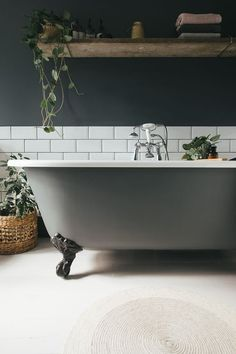 Bathroom Inspiration & Ideas Walls and roll top bath painted in F&B Downpipe Farmhouse Bathroom Under Bathroom Sinks, Dark Bathrooms, Upstairs Bathrooms, Small Bathroom, Master Bathroom, Bathroom Vanities, Light Bathroom, Bathroom Towels, Bathroom Cabinets