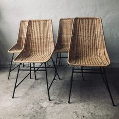 SET OF 4 WICKER CHAIRS - ART N DECO Wicker Chairs, Dining Chairs, Armchair, Brown, Wood, Furniture, Colour, Home Decor, Style