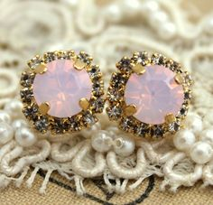 Opal stud earrings Pink Blush  Crystal Opal earring, Bridesmaids earrings,  - 14k plated gold post earrings real swarovski rhinestones .