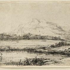 Rembrandt, Water met visser en twee zwanen ( B 235 ), 1650. Teylers Museum