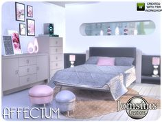 Created By jomsims Affectum Bedroom Created for: The Sims 4 modern and confortable with 19 new items. Cute Furniture, Sims 4 Cc Furniture, Sims 4 Beds, Sims 4 Bedroom, Teen Bedroom, Bedrooms, Bedroom Decor, Sims 4 Tsr, Sims New