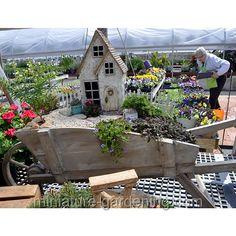 Pretty Mini House In A Wheelbarrow: #fairygarden #fairyhouses