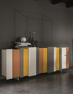 Lacquered sideboard with doors STRIPE by @dallagnesespa