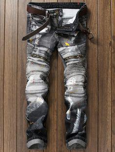 Paint Splatter Zippered Rib Panel Straight Jeans - GRAY 38