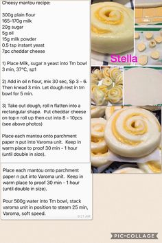 Cheesy Mantou Thermomix Bread, Thermomix Desserts, Steam Buns Recipe, Bread Recipes, Cooking Recipes, Instant Yeast, Powdered Milk, Bao, Cheddar Cheese
