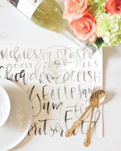 diy hand-lettered watercolor placemats