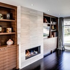 contemporary fireplace surround ideas modern home fireplace design Built In Electric Fireplace, Fireplace Built Ins, Home Fireplace, Fireplace Remodel, Fireplace Inserts, Fireplace Ideas, Wedding Fireplace, Gas Fireplaces, Fireplace Kitchen
