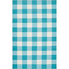 Country Living Happy Cottage Turquoise Check Rug