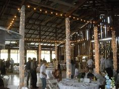 This barn made the perfect venue for a Western wedding. The decorators went all-out with this barn; there's a plethora of lighting as well as a dance floor.