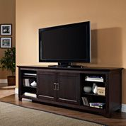 Don't make storage an afterthought, make it a focal point with the Walker Edison 70 in. Wood TV Stand with Sliding Doors - Espresso . Espresso Tv Stand, 70 Inch Tv Stand, West Highland White Terrier, Tv Stand Cabinet, Solid Wood Tv Stand, Cool Tv Stands, Flat Panel Tv, Entertainment Stand, Tv Cabinets