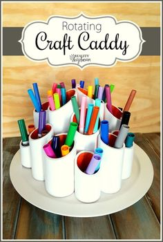 Rotating Craft Caddy DIY Project step by step Tutorial . using PVC pipes and a lazy susan! You can easily do it yourself for craft supplies or kids art supplies! Craft Paint Storage, Craft Organization, Marker Storage, Lazy Susan, Pvc Pipe Projects, Projects To Try, Pencil Organizer, Sewing Rooms, Craft Supplies