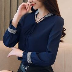 Womens Tops and Blouses Chiffon Blouse Autumn Ladies Embroidery Shirts Long Sleeve Elegante Casual Ladies Tops Office Clothing Casual Tops For Women, Blouses For Women, Ladies Tops, Women Bow Tie, Shirt Embroidery, Blouse Designs, Shirt Blouses, Korean Fashion, Shirt Style