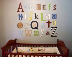 Wooden Alphabet Letters Set Painted Wooden by AlphabetBoutique123