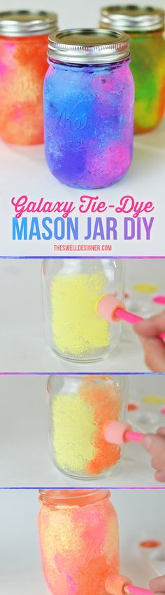 Make your own tie dye galaxy jars in just a few steps using paint, a pouncer and mason jars. Make your own tie dye galaxy jars in just a few steps using paint, a pouncer and mason jars. Dye Mason Jars, Pot Mason Diy, Mason Jar Gifts, Gift Jars, Jar Crafts, Crafts For Kids, Kids Diy, Galaxy Jar, Rosalie