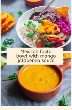 Healthy fajita bowl with sweet,spicy and tangy mango jalapeneo sauce  #fajita #buddhabowl #mexicanrecipe #fajitabowl #mango #mangorecipes #veganbuddhabowl Mango Recipes, Bean Recipes, Lunch Recipes, Mexican Food Recipes, Vegetarian Recipes, Ethnic Recipes, Grilled Vegetables, Grilled Meat, Cooking Onions