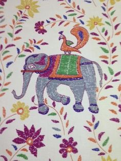 Duralee-John-Robshaw-Mehout-Multi-elephant-printed-cotton-fabric-by-the-yard (Ebay)